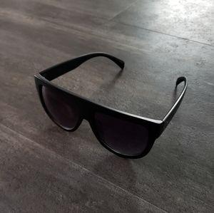 Accessories - Black Matte Oversized Flat Top Sunglasses